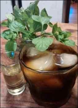 Tea with mint simple syrup