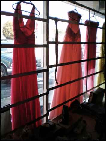 formal dresses at a thrift store