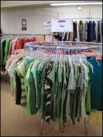 clothes racks at a thrift store