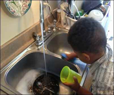 boy washing dishes, convenience foods