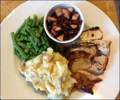Homemade turkey dinner, convenience foods