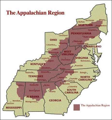 Appalachian region map